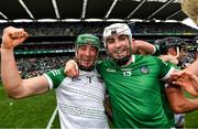 22 August 2021; Nickie Quaid, left, and Aaron Gillane of Limerick celebrate after the GAA Hurling All-Ireland Senior Championship Final match between Cork and Limerick in Croke Park, Dublin. Photo by Eóin Noonan/Sportsfile