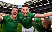 22 August 2021; Seán Finn, left, and Gearóid Hegarty of Limerick celebrate after the GAA Hurling All-Ireland Senior Championship Final match between Cork and Limerick in Croke Park, Dublin. Photo by Eóin Noonan/Sportsfile
