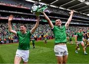 22 August 2021; Limerick players Diarmuid Byrnes, left, and Aaron Gillane celebrate with the Liam MacCarthy Cup after the GAA Hurling All-Ireland Senior Championship Final match between Cork and Limerick in Croke Park, Dublin. Photo by Piaras Ó Mídheach/Sportsfile