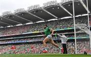 22 August 2021; Gearóid Hegarty of Limerick celebrates after scoring his side's first goal during the GAA Hurling All-Ireland Senior Championship Final match between Cork and Limerick in Croke Park, Dublin.  Photo by Ramsey Cardy/Sportsfile