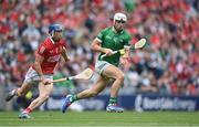 22 August 2021; Aaron Gillane of Limerick in action against Sean O'Donoghue of Cork during the GAA Hurling All-Ireland Senior Championship Final match between Cork and Limerick in Croke Park, Dublin. Photo by Ramsey Cardy/Sportsfile