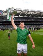 22 August 2021; Aaron Gillane of Limerick with the Liam MacCarthy Cup after the GAA Hurling All-Ireland Senior Championship Final match between Cork and Limerick in Croke Park, Dublin. Photo by Stephen McCarthy/Sportsfile