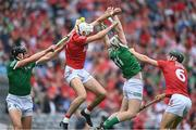 22 August 2021; Gearoid Hegarty, left, and Cian Lynch of Limerick in action against Tim O'Mahony, left, and Mark Coleman of Cork during the GAA Hurling All-Ireland Senior Championship Final match between Cork and Limerick in Croke Park, Dublin. Photo by Ramsey Cardy/Sportsfile