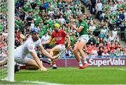 22 August 2021; Gearoid Hegarty of Limerick and Mark Coleman and Cork goalkeeper Patrick Collins watch a shot go wide during the GAA Hurling All-Ireland Senior Championship Final match between Cork and Limerick in Croke Park, Dublin. Photo by Ramsey Cardy/Sportsfile