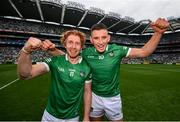 22 August 2021; Gearóid Hegarty, right, and Cian Lynch of Limerick celebrate after the GAA Hurling All-Ireland Senior Championship Final match between Cork and Limerick in Croke Park, Dublin. Photo by Stephen McCarthy/Sportsfile