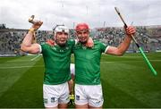 22 August 2021; Aaron Gillane, left, and Colin Coughlan of Limerick celebrate after the GAA Hurling All-Ireland Senior Championship Final match between Cork and Limerick in Croke Park, Dublin. Photo by Stephen McCarthy/Sportsfile