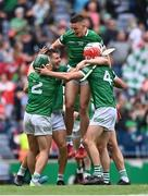 22 August 2021; Gearóid Hegarty of Limerick, top, celebrates with team-mates after the GAA Hurling All-Ireland Senior Championship Final match between Cork and Limerick in Croke Park, Dublin. Photo by Piaras Ó Mídheach/Sportsfile