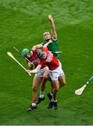 22 August 2021; Dan Morrissey of Limerick in action against Darragh Fitzgibbon, left, and Robbie O'Flynn of Cork during the GAA Hurling All-Ireland Senior Championship Final match between Cork and Limerick in Croke Park, Dublin. Photo by Daire Brennan/Sportsfile