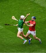 22 August 2021; Aaron Gillane of Limerick in action against Seán O'Donoghue of Cork during the GAA Hurling All-Ireland Senior Championship Final match between Cork and Limerick in Croke Park, Dublin. Photo by Daire Brennan/Sportsfile