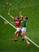 22 August 2021; Mark Coleman of Cork in action against Gearóid Hegarty of Limerick during the GAA Hurling All-Ireland Senior Championship Final match between Cork and Limerick in Croke Park, Dublin. Photo by Daire Brennan/Sportsfile