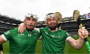 22 August 2021; Aaron Gillane, left, and Cian Lynch of Limerick celebrate after the GAA Hurling All-Ireland Senior Championship Final match between Cork and Limerick in Croke Park, Dublin. Photo by Eóin Noonan/Sportsfile