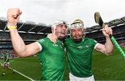 22 August 2021; Aaron Gillane, left, and Cian Lynch of Limerick celebrates following the GAA Hurling All-Ireland Senior Championship Final match between Cork and Limerick in Croke Park, Dublin. Photo by Eóin Noonan/Sportsfile