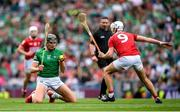 22 August 2021; Gearóid Hegarty of Limerick and Luke Meade of Cork during the GAA Hurling All-Ireland Senior Championship Final match between Cork and Limerick in Croke Park, Dublin. Photo by Stephen McCarthy/Sportsfile
