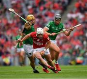 22 August 2021; Patrick Horgan of Cork in action against Tom Morrissey, left, and Gearóid Hegarty of Limerick during the GAA Hurling All-Ireland Senior Championship Final match between Cork and Limerick in Croke Park, Dublin. Photo by Ray McManus/Sportsfile