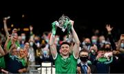 22 August 2021; Limerick captain Declan Hannon lifts the Liam MacCarthy Cup after the GAA Hurling All-Ireland Senior Championship Final match between Cork and Limerick in Croke Park, Dublin. Photo by Stephen McCarthy/Sportsfile