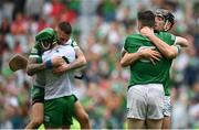 22 August 2021; Limerick players including Diarmaid Byrnes and Declan Hannon celebrate after the GAA Hurling All-Ireland Senior Championship Final match between Cork and Limerick in Croke Park, Dublin. Photo by Harry Murphy/Sportsfile