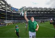 22 August 2021; Aaron Gillane of Limerick celebrates with the Liam MacCarthy Cup following the GAA Hurling All-Ireland Senior Championship Final match between Cork and Limerick in Croke Park, Dublin. Photo by Stephen McCarthy/Sportsfile