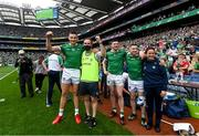 22 August 2021; Gearóid Hegarty of Limerick and team doctor James Ryan celebrate in the final moments of the GAA Hurling All-Ireland Senior Championship Final match between Cork and Limerick in Croke Park, Dublin. Photo by Ramsey Cardy/Sportsfile