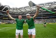 22 August 2021; Declan Hannon, left, and Kyle Hayes of Limerick celebrate after the GAA Hurling All-Ireland Senior Championship Final match between Cork and Limerick in Croke Park, Dublin. Photo by Ramsey Cardy/Sportsfile