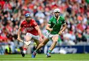 22 August 2021; Aaron Gillane of Limerick and Seán O'Donoghue of Cork during the GAA Hurling All-Ireland Senior Championship Final match between Cork and Limerick in Croke Park, Dublin. Photo by Ramsey Cardy/Sportsfile