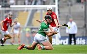 22 August 2021; Gearóid Hegarty of Limerick and Luke Meade of Cork during the GAA Hurling All-Ireland Senior Championship Final match between Cork and Limerick in Croke Park, Dublin. Photo by Ramsey Cardy/Sportsfile