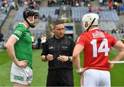 22 August 2021; Referee Fergal Horgan with the two captains, Declan Hannon of Limerick and Patrick Horgan of Cork, before the GAA Hurling All-Ireland Senior Championship Final match between Cork and Limerick in Croke Park, Dublin. Photo by Ray McManus/Sportsfile