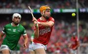 22 August 2021; Niall O'Leary of Cork in action against Aaron Gillane of Limerick during the GAA Hurling All-Ireland Senior Championship Final match between Cork and Limerick in Croke Park, Dublin. Photo by Ray McManus/Sportsfile