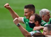 22 August 2021; Gearóid Hegarty of Limerick, left, and team doctor Dr. James Ryan celebrate in the final moments of the GAA Hurling All-Ireland Senior Championship Final match between Cork and Limerick in Croke Park, Dublin. Photo by Ray McManus/Sportsfile