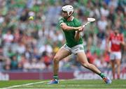 22 August 2021; Aaron Gillane of Limerick scores a point from a free during the GAA Hurling All-Ireland Senior Championship Final match between Cork and Limerick in Croke Park, Dublin. Photo by Piaras Ó Mídheach/Sportsfile