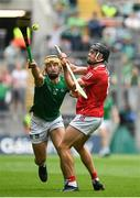 22 August 2021; Tom Morrissey of Limerick in action against Darragh Fitzgibbon of Cork during the GAA Hurling All-Ireland Senior Championship Final match between Cork and Limerick in Croke Park, Dublin. Photo by Harry Murphy/Sportsfile
