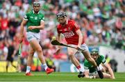 22 August 2021; Jack O'Connor of Cork in action against William O'Donoghue of Limerick during the GAA Hurling All-Ireland Senior Championship Final match between Cork and Limerick in Croke Park, Dublin. Photo by Brendan Moran/Sportsfile