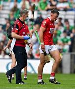 22 August 2021; Robbie O'Flynn of Cork leaves the pitch wit an injury during the GAA Hurling All-Ireland Senior Championship Final match between Cork and Limerick in Croke Park, Dublin. Photo by Brendan Moran/Sportsfile *** NO REPRODUCTION FEE ***