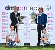 25 August 2021; The Football Association of Ireland today announced EVOKE.ie as sponsor of the FAI Women's Senior Cup for the next two years in the first dedicated sponsorship deal for the historic and prestigious competition. EVOKE.ie and EXTRA.ie, part of DMG Media, Ireland's largest publisher of digital content, will now work alongside the FAI to further enhance their senior Cup competitions. The innovative EVOKE.ie FAI Women's Cup and the EXTRA.ie FAI Cup sponsorship deals were officially launched today at the FAI's Abbotstown Headquarters. Pictured at the announcement are FAI Chief Executive Officer Jonathan Hill, left, and Paul Henderson, Managing Director, DMG Media Ireland, with mascots Bradley Peers of Shelbourne and Caoimhe Nannery of Cambridge Football Club, Dublin. Photo by Seb Daly/Sportsfile