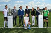 25 August 2021; The Football Association of Ireland today announced EVOKE.ie as sponsor of the FAI Women's Senior Cup for the next two years in the first dedicated sponsorship deal for the historic and prestigious competition. EVOKE.ie and EXTRA.ie, part of DMG Media, Ireland's largest publisher of digital content, will now work alongside the FAI to further enhance their senior Cup competitions. The innovative EVOKE.ie FAI Women's Cup and the EXTRA.ie FAI Cup sponsorship deals were officially launched today at the FAI's Abbotstown Headquarters. Pictured at the announcement are, from left, Andy Boyle of Dundalk, Fran Gavin, FAI Director of Competitions, Paul Henderson, Managing Director, DMG Media Ireland, FAI Chief Executive Officer Jonathan Hill, Dearbhla Meaney, Group Marketing Manager, DMG Media Ireland, Mark Scanlon, League of Ireland Director, Eleanor Ryan Doyle of Peamount United, and Bradley Peers of Shelbourne, front. Photo by Seb Daly/Sportsfile