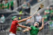 22 August 2021; Eoin Cadogan of Cork in action against Aaron Gillane of Limerick during the GAA Hurling All-Ireland Senior Championship Final match between Cork and Limerick in Croke Park, Dublin. Photo by Stephen McCarthy/Sportsfile