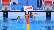 26 August 2021; Ellen Keane of Ireland, left, and Nuria Soto Marques of Spain after competing in the heats of the Women's SB8 100 metre breaststroke at the Tokyo Aquatic Centre on day two during the Tokyo 2020 Paralympic Games in Tokyo, Japan. Photo by Sam Barnes/Sportsfile
