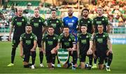 26 August 2021; The Shamrock Rovers team, back row, from left, Joey O'Brien, Sean Hoare, Aaron Greene, Alan Mannus, Roberto Lopes and Liam Scales. Front row, from left, Danny Mandroiu, Dylan Watts, Ronan Finn, Gary O'Neill and Graham Burke before the UEFA Europa Conference League play-off second leg match between Shamrock Rovers and Flora Tallinn at Tallaght Stadium in Dublin. Photo by Seb Daly/Sportsfile