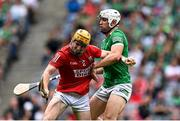 22 August 2021; Niall O'Leary of Cork in action against Aaron Gillane of Limerick during the GAA Hurling All-Ireland Senior Championship Final match between Cork and Limerick in Croke Park, Dublin. Photo by Piaras Ó Mídheach/Sportsfile