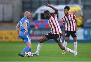 27 August 2021; Junior Ogedi-Uzokwe of Derry City in action against Mark Coyle of Finn Harps during the extra.ie FAI Cup Second Round match between Finn Harps and Derry City at Finn Park in Ballybofey, Donegal. Photo by Ramsey Cardy/Sportsfile