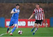 27 August 2021; Johnny Dunleavy of Finn Harps in action against Ronan Boyce of Derry City during the extra.ie FAI Cup Second Round match between Finn Harps and Derry City at Finn Park in Ballybofey, Donegal. Photo by Ramsey Cardy/Sportsfile