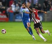 27 August 2021; Junior Ogedi-Uzokwe of Derry City in action against David Webster of Finn Harps during the extra.ie FAI Cup Second Round match between Finn Harps and Derry City at Finn Park in Ballybofey, Donegal. Photo by Ramsey Cardy/Sportsfile