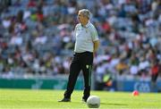 28 August 2021; Kerry manager Peter Keane during the warm-up before the GAA Football All-Ireland Senior Championship semi-final match between Kerry and Tyrone at Croke Park in Dublin. Photo by Brendan Moran/Sportsfile