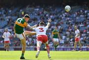 28 August 2021; David Clifford of Kerry takes a shot, after 23 seconds, under pressure from Ronan McNamee of Tyrone during the GAA Football All-Ireland Senior Championship semi-final match between Kerry and Tyrone at Croke Park in Dublin. Photo by Ray McManus/Sportsfile