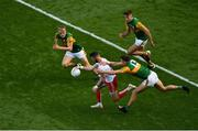 28 August 2021; Ronan McNamee of Tyrone in action against Kerry players, left to right, Killian Spillane, David Clifford, and Adrian Spillane during the GAA Football All-Ireland Senior Championship semi-final match between Kerry and Tyrone at Croke Park in Dublin. Photo by Daire Brennan/Sportsfile