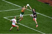 28 August 2021; Niall Morgan of Tyrone gets to the ball ahead of David Clifford of Kerry during the GAA Football All-Ireland Senior Championship semi-final match between Kerry and Tyrone at Croke Park in Dublin. Photo by Daire Brennan/Sportsfile