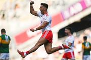 28 August 2021; Michael McKernan of Tyrone celebrates his side's third goal, scored by team-mate Conor McKenna, during the GAA Football All-Ireland Senior Championship semi-final match between Kerry and Tyrone at Croke Park in Dublin. Photo by Piaras Ó Mídheach/Sportsfile