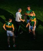 28 August 2021; Kerry manager Peter Keane shakes hands with his players after the GAA Football All-Ireland Senior Championship semi-final match between Kerry and Tyrone at Croke Park in Dublin. Photo by Daire Brennan/Sportsfile