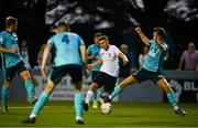 28 August 2021; Jack O'Connor of Maynooth Town shoots to score his side's second goal during the extra.ie FAI Cup Second Round match between Maynooth University Town and Cobh Ramblers at John Hyland Park in Baldonnell, Dublin. Photo by Eóin Noonan/Sportsfile