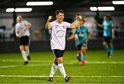 28 August 2021; Jackson Ryan of Maynooth Town celebrates at the final whistle after the extra.ie FAI Cup Second Round match between Maynooth University Town and Cobh Ramblers at John Hyland Park in Baldonnell, Dublin. Photo by Eóin Noonan/Sportsfile