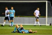 28 August 2021; Martin Coleman of Cobh Ramblers reacts to a missed chance during the extra.ie FAI Cup Second Round match between Maynooth University Town and Cobh Ramblers at John Hyland Park in Baldonnell, Dublin. Photo by Eóin Noonan/Sportsfile